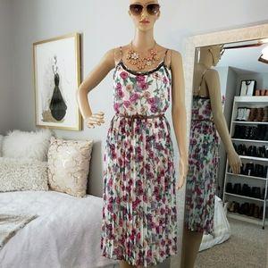 LC Lauren Conrad Floral Pleated Midi Dress